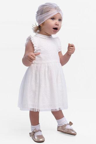 MOYA BRODERIE DRESS in colour CLOUD DANCER