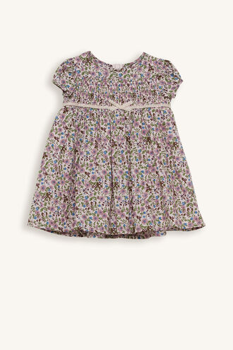 AGNES SMOCKED DRESS in colour IRIS