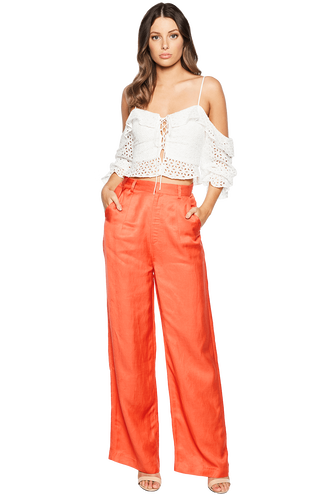 LAURA WIDE LEG PANT in colour TIGERLILY
