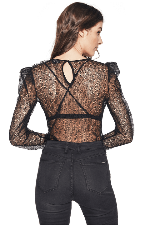 WEB LACE TOP in colour CAVIAR