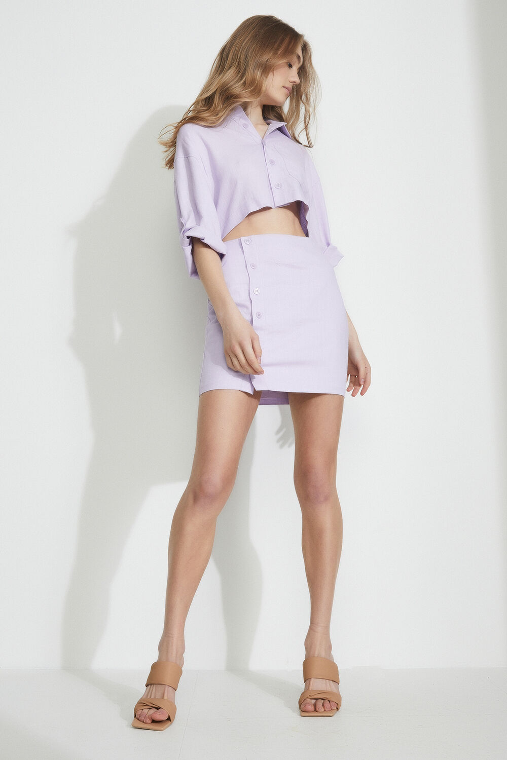 THE MINI SHIRT DRESS in colour GRAY LILAC