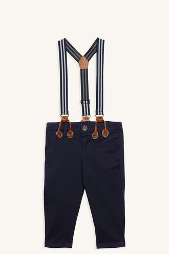 BASIC CHINO PANT WITH BRACES in colour DRESS BLUES
