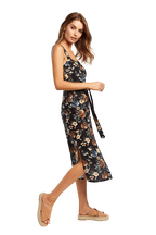 FLORAL SIDESPLIT DRESS in colour STRETCH LIMO