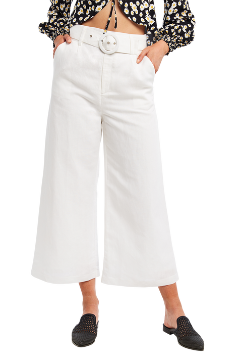 LENNY LINEN PANT in colour CLOUD DANCER