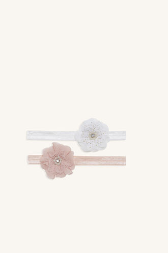PEARL & DIAMANTE FLOWER 2 PACKET HEADBAND in colour PINK CARNATION
