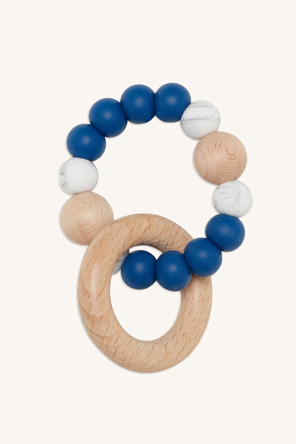 SINGLE RATTLE SILICONE & BEECH in colour BLUE BELL