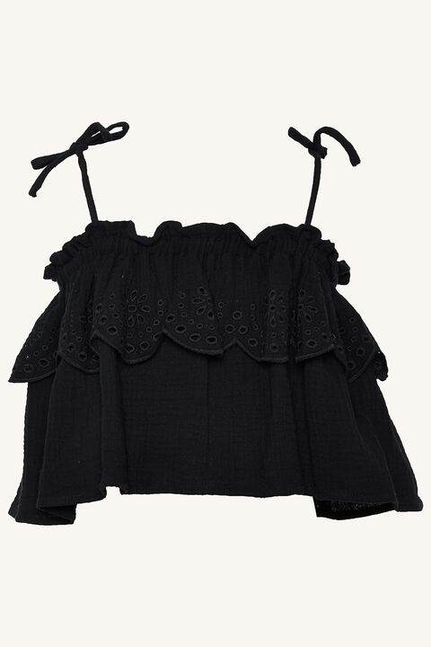 LORENA FRILL TOP in colour JET BLACK