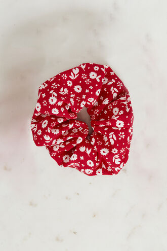 RED FLORAL SCRUNCHIE. in colour FIESTA