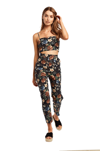 FLORAL LINEN CROP in colour STRETCH LIMO