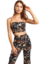 FLORAL LINEN CROP TOP in colour STRETCH LIMO