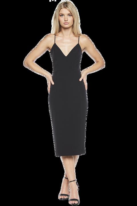 OPEN BACK DRESS in colour CAVIAR