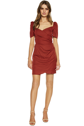 BUTTON BACK DRESS in colour BARN RED