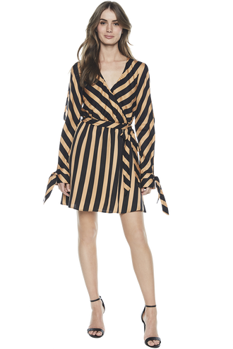HANNAH STRIPE DRESS in colour SANDSTORM