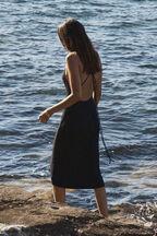 BACKLESS SLINKY DRESS in colour CAVIAR