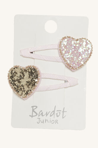 GLITTER HEART SNAP CLIP SET in colour PINK CARNATION