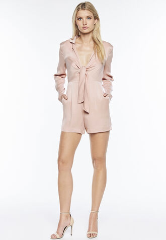 TIE FRONT PLAYSUIT in colour MISTY ROSE