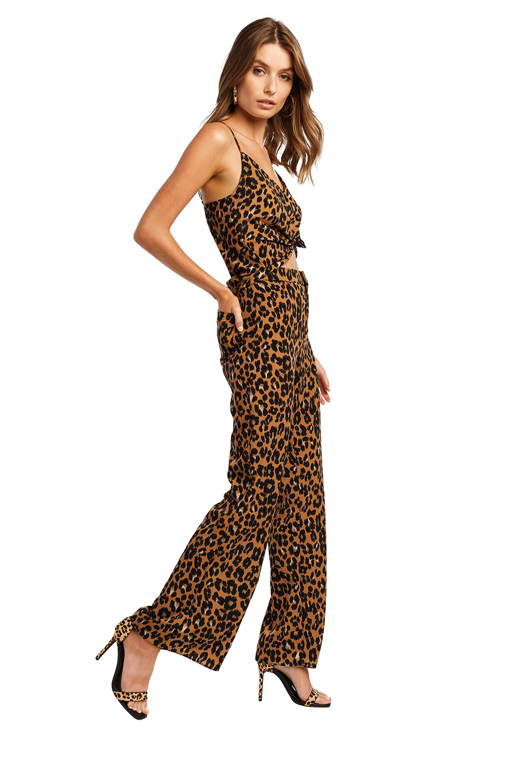 LEOPARD V NECK CAMI in colour BEIGE