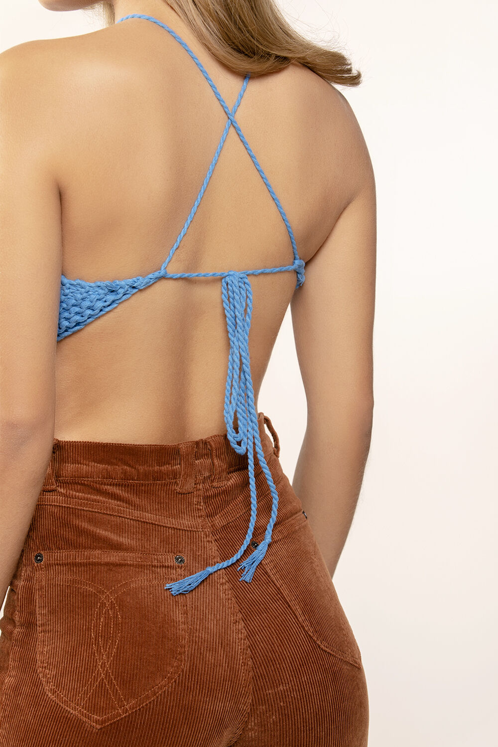 KNITTED HALTER TOP in colour BRIGHT COBALT