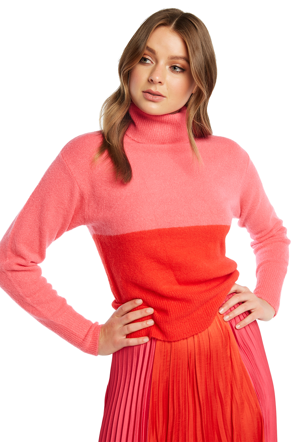 TWO TONE KNIT in colour BEETROOT PURPLE
