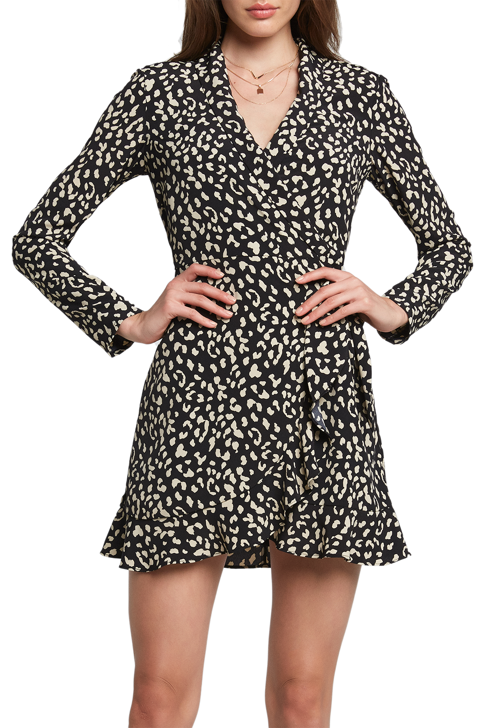 B&W LEO WRAP DRESS in colour JET SET