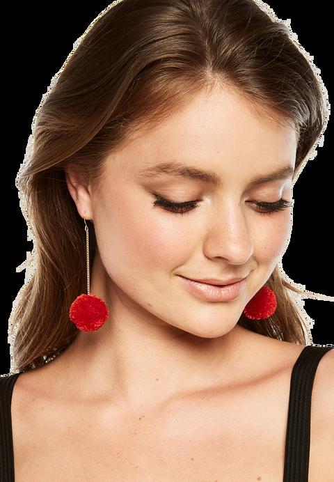 POM POM DROP EARRINGS in colour RED BUD