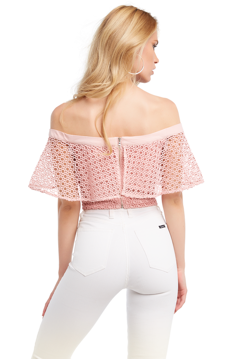 OFF SHOULDER TOP in colour CORAL ALMOND