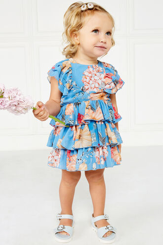 BEVERLY TIER DRESS in colour AZURE BLUE