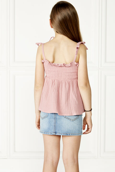 tween girl nora shirred top in colour STRAWBERRY ICE