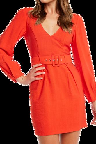 POWER SLEEVE DRESS in colour FIESTA