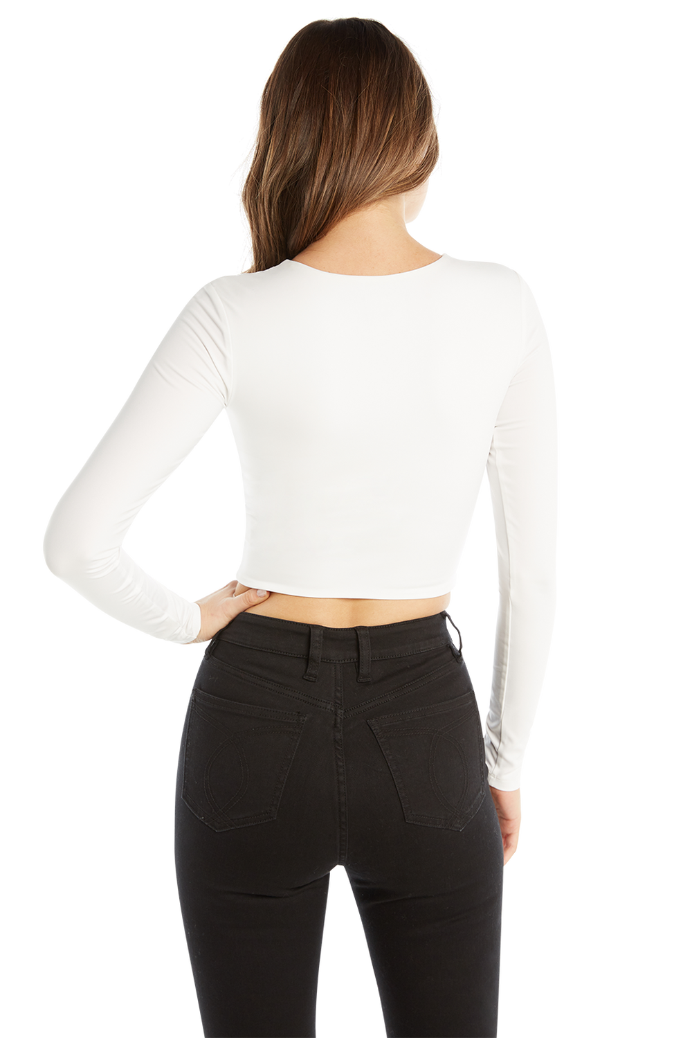 BRIA LS CROP TOP in colour BRIGHT WHITE