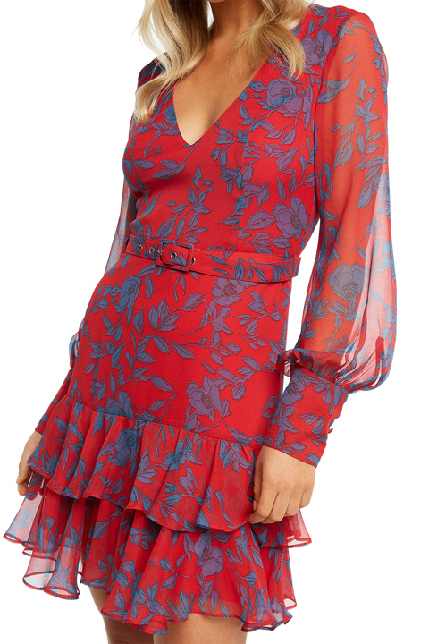MADELYN FLORAL DRESS in colour HIGH RISK RED
