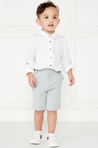 TEXTURED SUIT SHORT in colour FROST GRAY