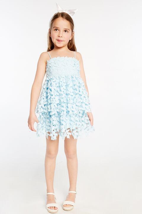 JUNIOR GIRL DARCY LEAF DRESS   in colour CRYSTAL BLUE