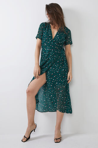 LEO WRAP DRESS in colour MALLARD GREEN