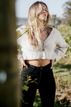 COSY CROP CARDI in colour OATMEAL