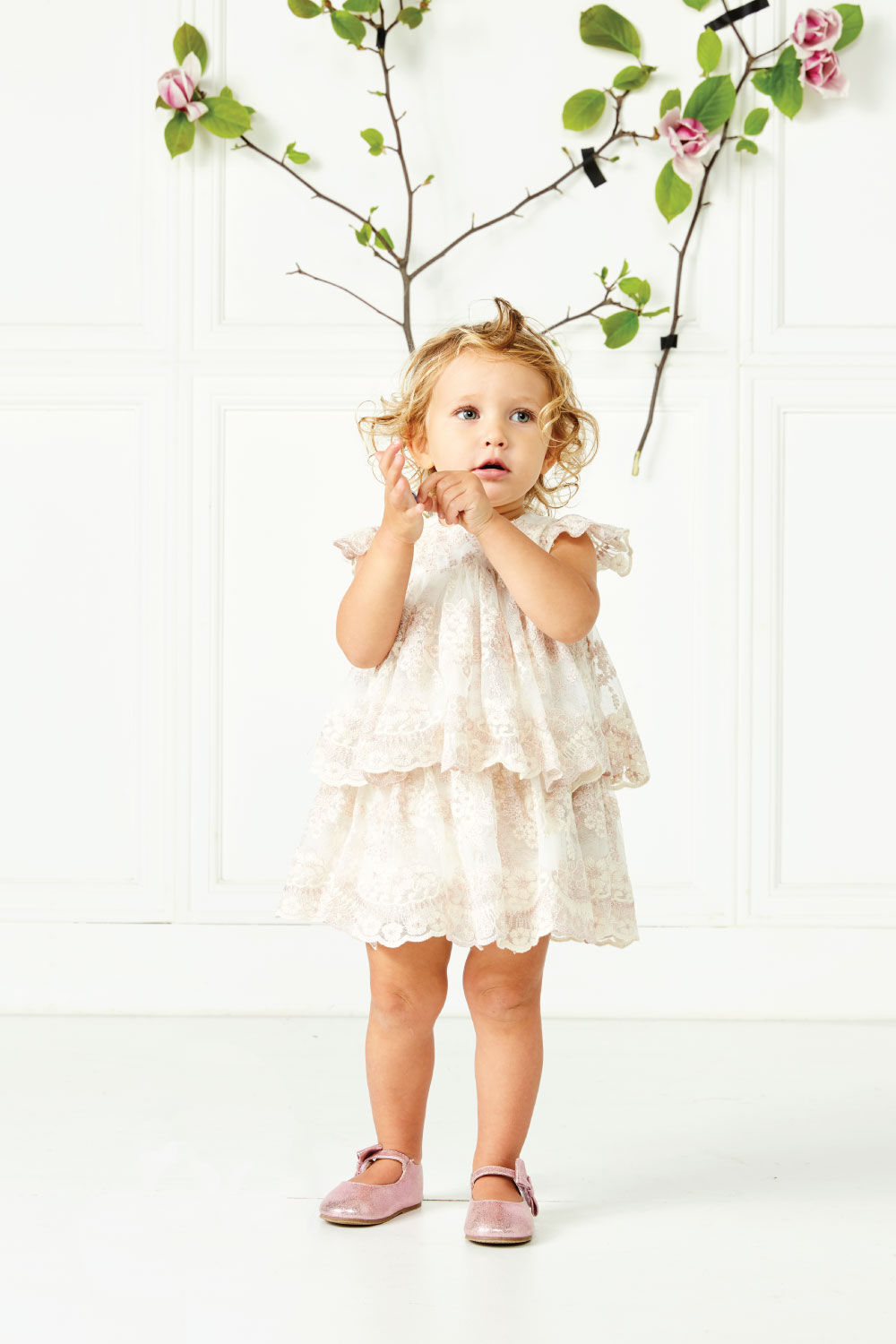 BABY GIRL ELOISE LACE DRESS in colour PALE DOGWOOD