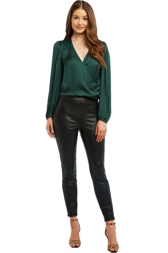 411d2a43af4fe HALEY WRAP TOP in colour DARK GREEN