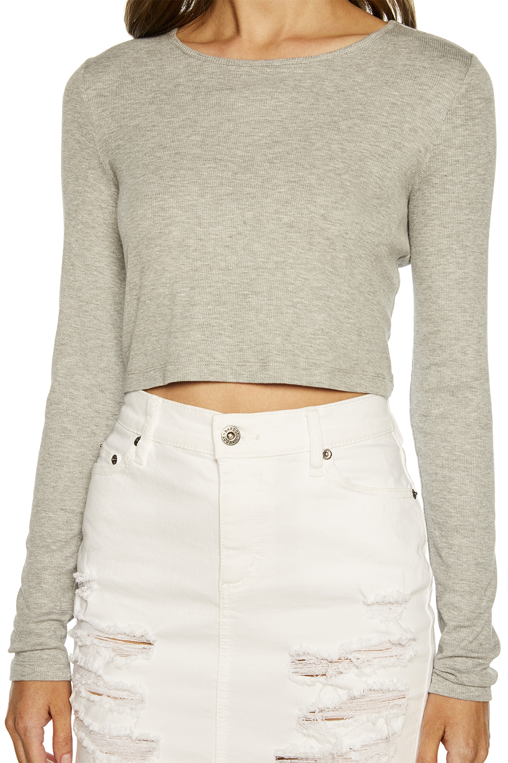 CROP LONG SLEEVE RIB TOP in colour PALOMA