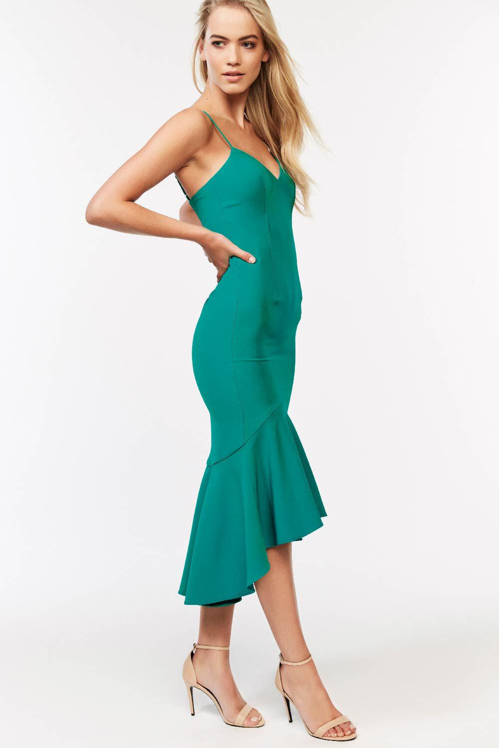 LISANDRA MIDI DRESS in colour GREENLAKE