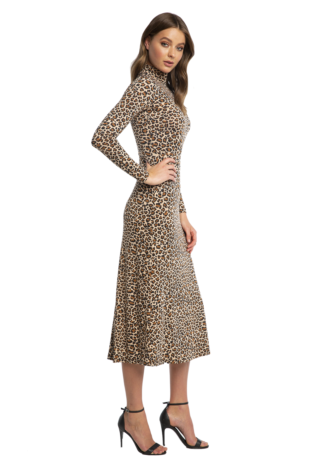 LEOPARD MAXI DRESS in colour LATTE
