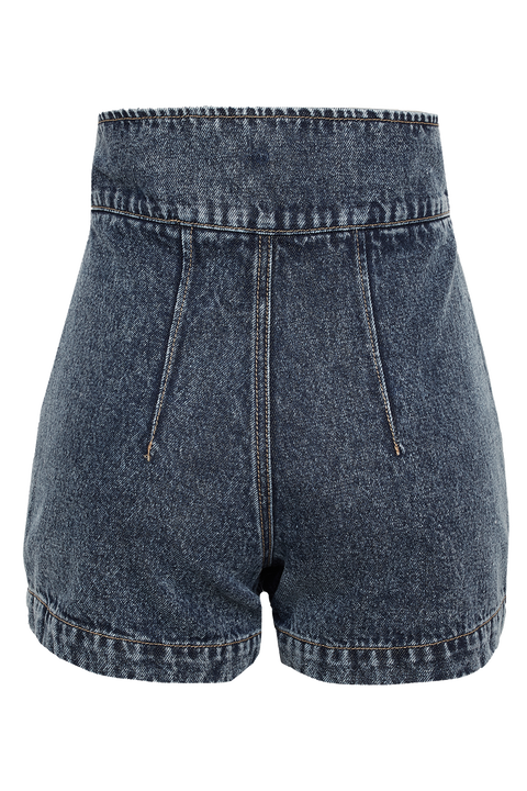 DENIM PLEAT SHORT in colour CITADEL