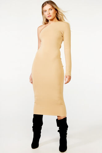 ONE SHLDR KNIT DRESS in colour TAN