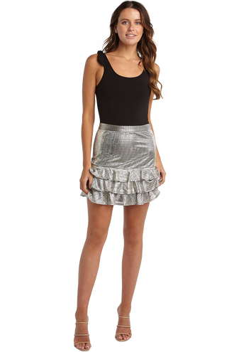 SHIMMER RAH RAH SKIRT in colour LUNAR ROCK