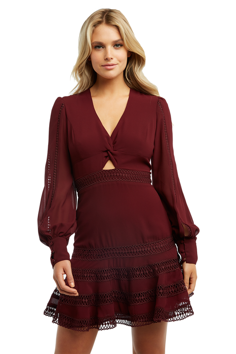 LUELLA LACE TRIM DRESS in colour BURGUNDY