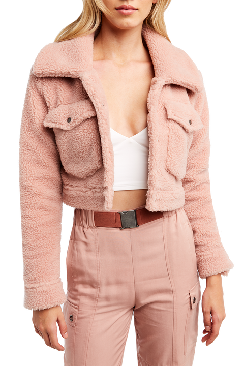 CROP SHERPA JACKET in colour ZEPHYR