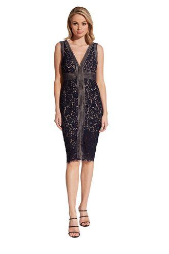 HALTER LACE DRESS in colour PEACOAT