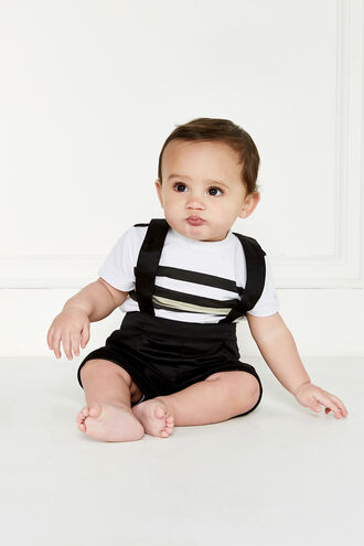 PIPED SHORT OVERALL in colour JET BLACK