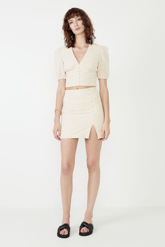 EDIE BRODERIE SKIRT in colour CREAM TAN