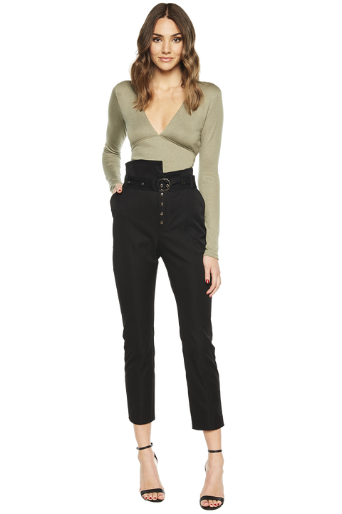 BELTED PAPERBAG PANT in colour CAVIAR