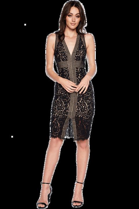 CIRCLE LACE DRESS in colour CAVIAR